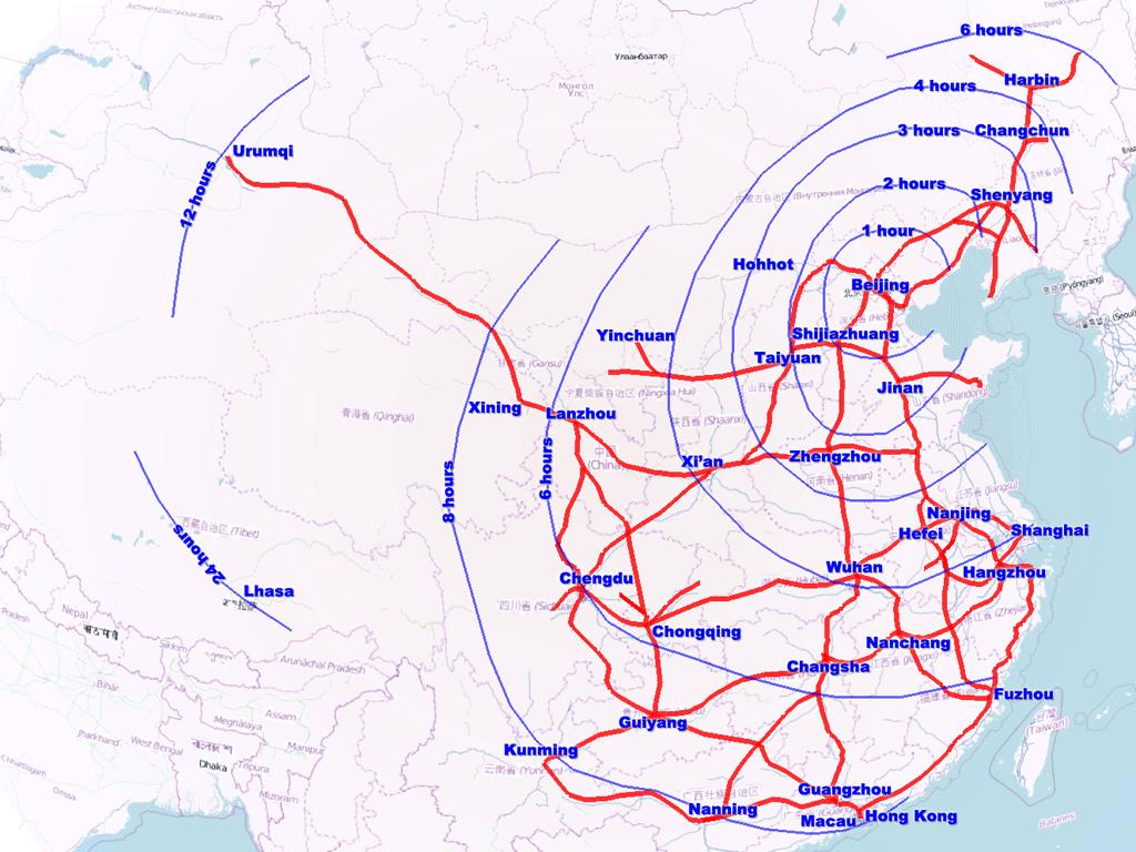 Toutes les grandes villes chinoises bientôt reliées par TGV