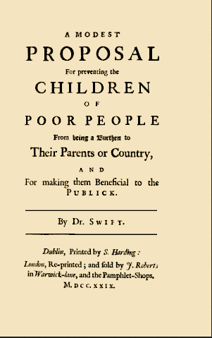 Couverture du pamphlet satirique de Jonathan Swift (1729)