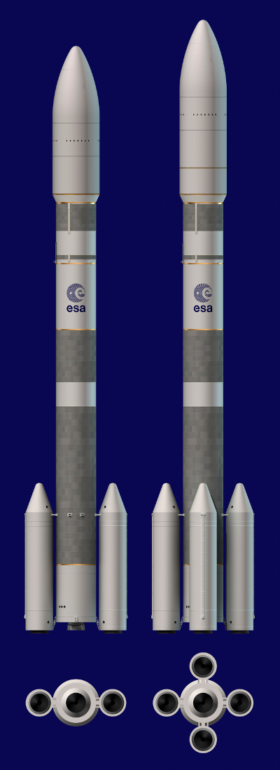Ariane 62 : 2 boosters d'appoint. Ariane 64 : 4 boosters d'appoint.