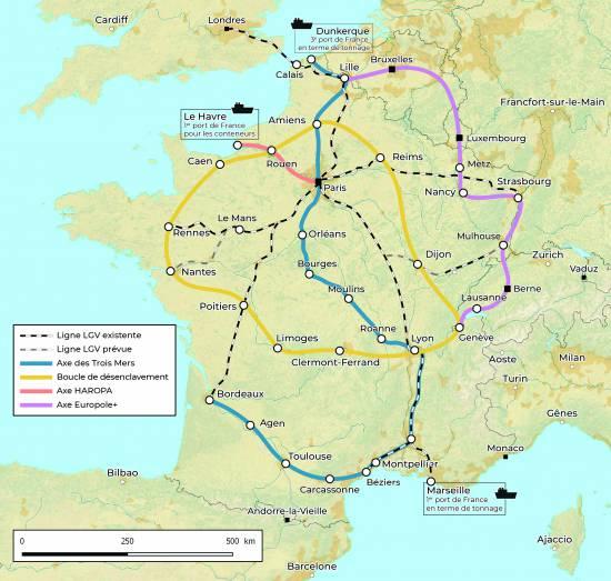 En vert, notre projet de boucle de désenclavement (Aérotrain) ; en rouge, la liaison HAROPA ; en jaune, le projet Europole.
