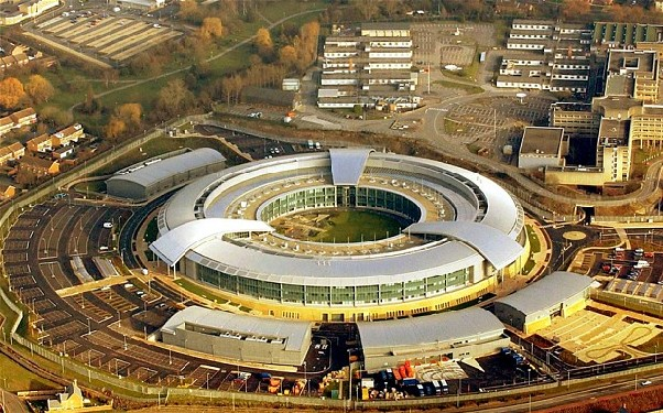 Siège du Global Communications Headquarters (GCHQ), les grandes oreilles de la Reine d'Angleterre.
