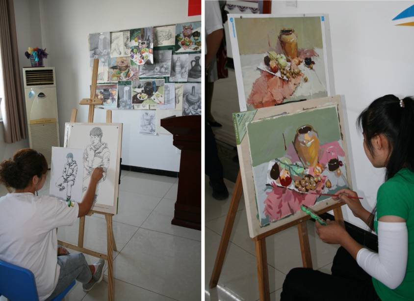 Atelier dessin et atelier aquarelle au Centre vocationnel de Gaochang (Turpan)